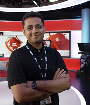Male broadcast engineer in BBC studios